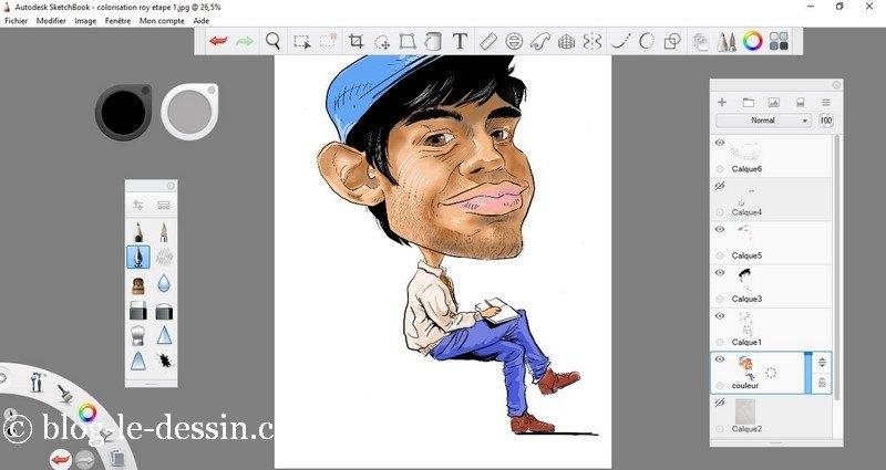 logiciel sketchbook pour coloriser une caricature