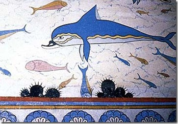 Fresque des dauphins, Palais du roi Minos Knossos (Crète), datant de 1500 av. J.C. - Source : http://marenostrum.org/bibliotecadelmar/mitologia/dofins_fr.htm