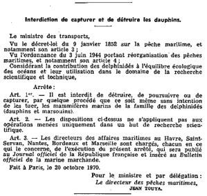 Arrêté du 20 octobre 1970 portant interdiction de capturer et de détruire les dauphins