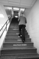 """I waited at this staircase for about 5 minutes for Coach Harper to walk up. I loved the """"Steps to Success"""" written on them."""