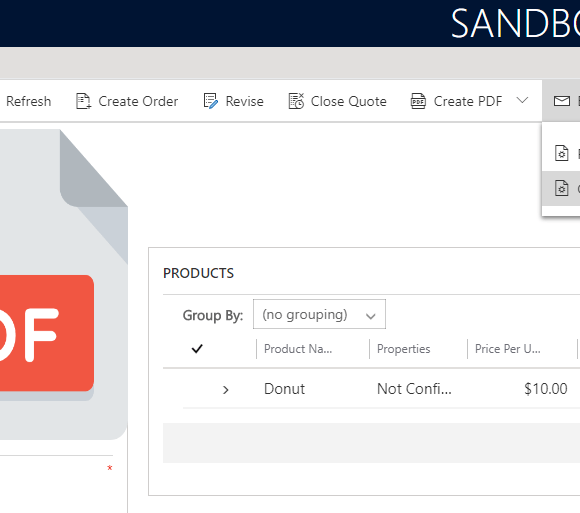 Send and Generate PDF from Quote