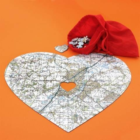 Personalised Heart Shaped Map jigsaw
