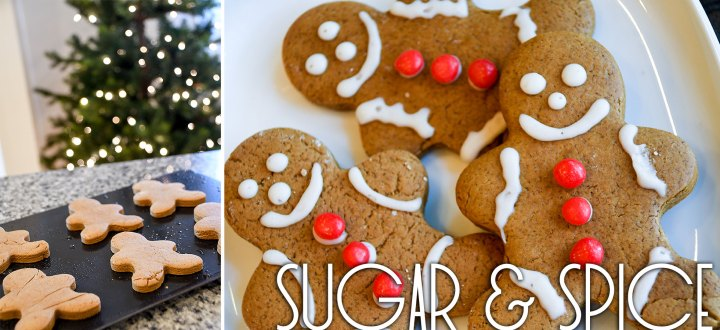 Collage of gingerbread cookie dough cutouts on a baking sheet and a plate of frosted gingerbread cookies.
