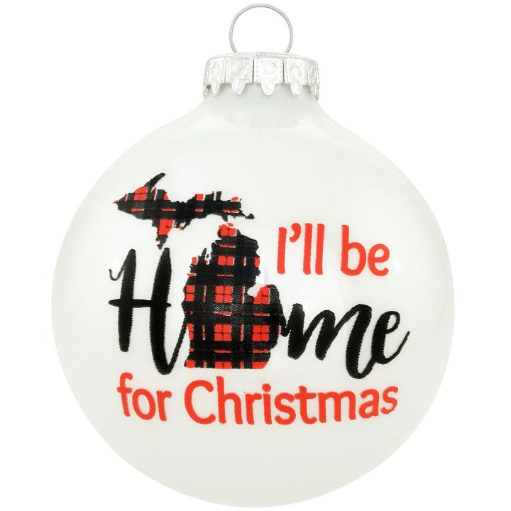 I'll Be Home For Christmas Michigan Glass Ornament