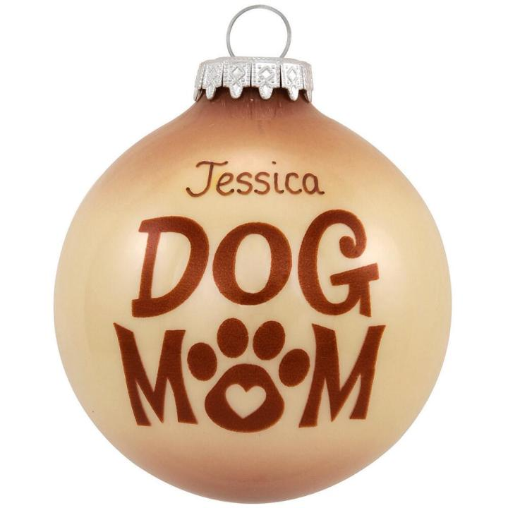 """Two-tone beige and brown ornament with the words """"Dog Mom"""" and a paw print that can be personalized with name"""
