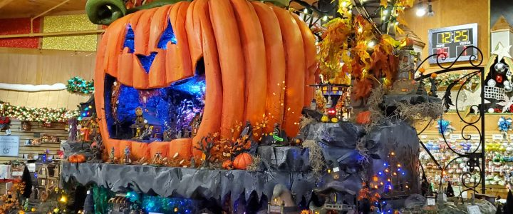 Halloween Village Display Features Giant Jack-o'-lantern