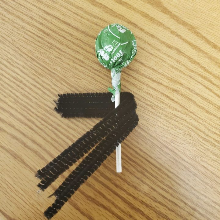 Black pipe cleaners (chenille stems) wrapped partially around the stick of a green apple sucker laying on a light wood table