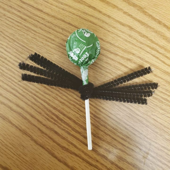 Four black pipe cleaners (chenille stems) wrapped around the stick of a green apple sucker and laying on a light wood table