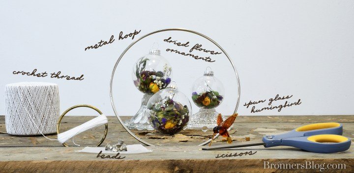 Supplies to make dried flower ornament mobile