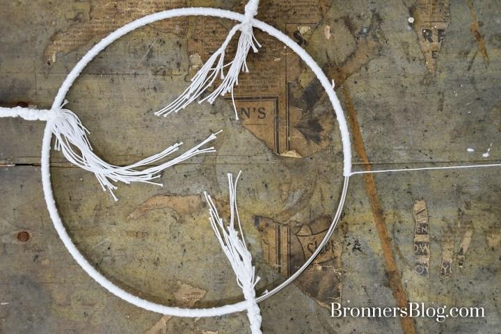 wrap metal hoop with crochet string