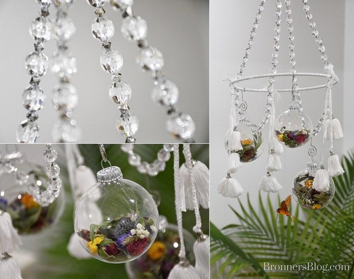 DIY Dried flower ornament mobile with spun glass hummingbird ornament