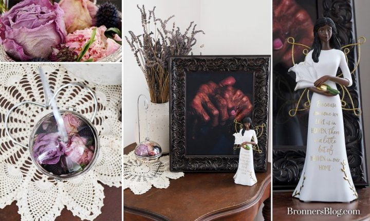 Funeral home arrangement flowers preserved in an ornament with a bereavement angel figurine.
