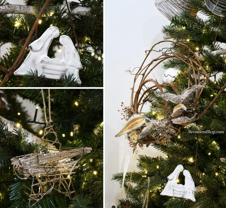 The collage features closeups of the ceramic Holy Family ornament, wire star ornament and grapevine wreath, all hanging on the tree.