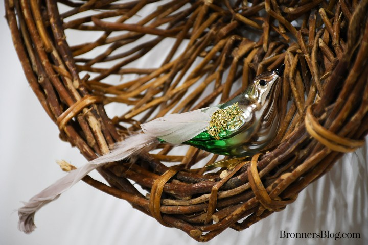 Clip on bird ornament on twig basket