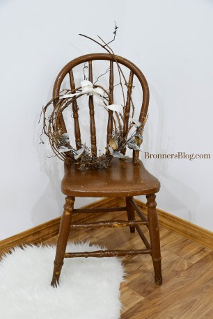 Natural Grapevine Wreath with Milkweed & Queen Anne's Lace on chair