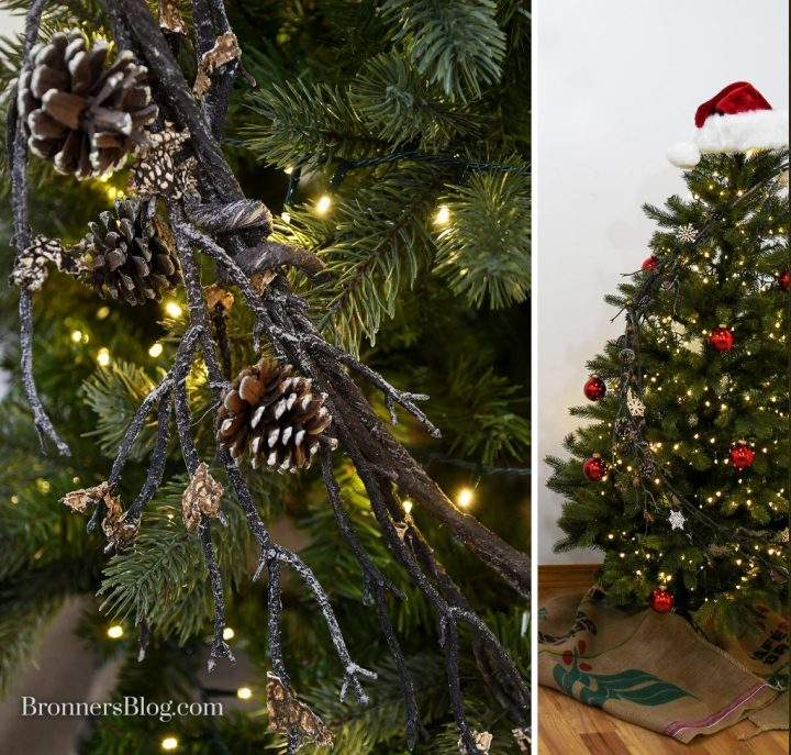 Tree photo collage with one photo showing a closeup of the branch garland with pinecones on the tree and the second photo showing a full-length look at the tree with the branched pinecone garland accented with mini wood snowflakes, mini matte and shiny red glass ornaments, a plush burgundy Santa hat as tree topper, and burlap coffee bags as a tree skirt.