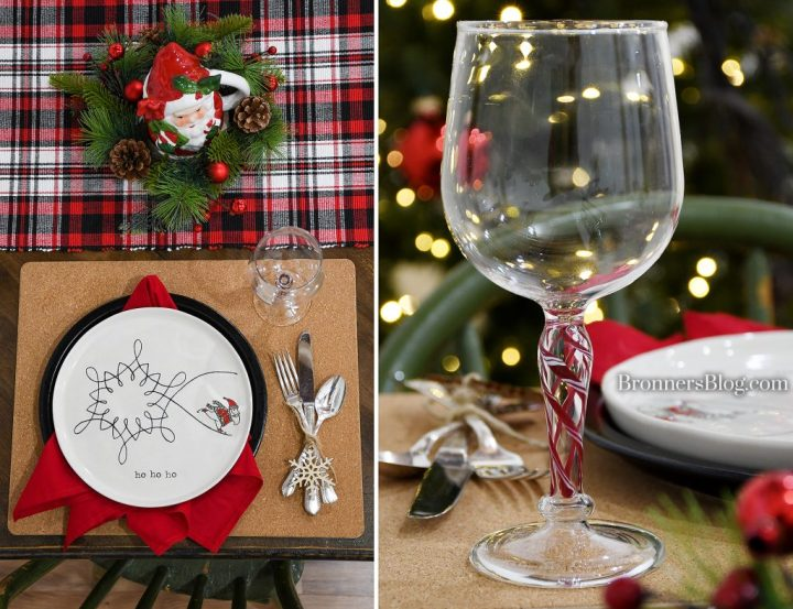 Our table features a colorful plaid cotton runner, a Santa mug and evergreen candle ring for a centerpiece, and a place setting on a cork place mat with black ceramic plate topped with a red napkin and skating Santa plate. Our Egyptian glass stemware features festive red and white stripes throughout the stem.