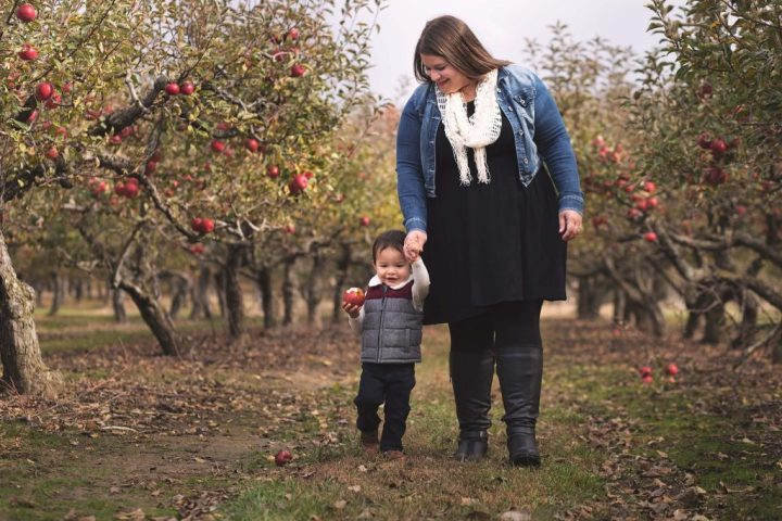 Mother and toddler son walking down a row between two lines of apple trees loaded with apples