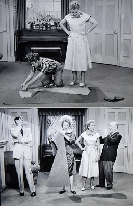 """""""I Love Lucy"""" Season 2, """"Lucy Wants New Furniture"""". Lucy cutting out a dress."""