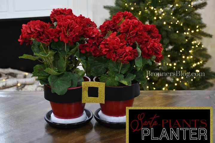 DIY Santa Pants Planter filled with silk red geraniums
