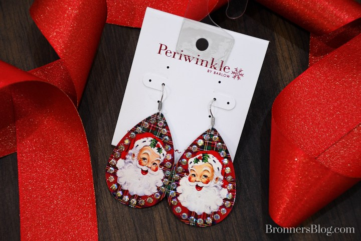 Retro Santa Claus Plaid Metal Teardrop Earrings with Jewels