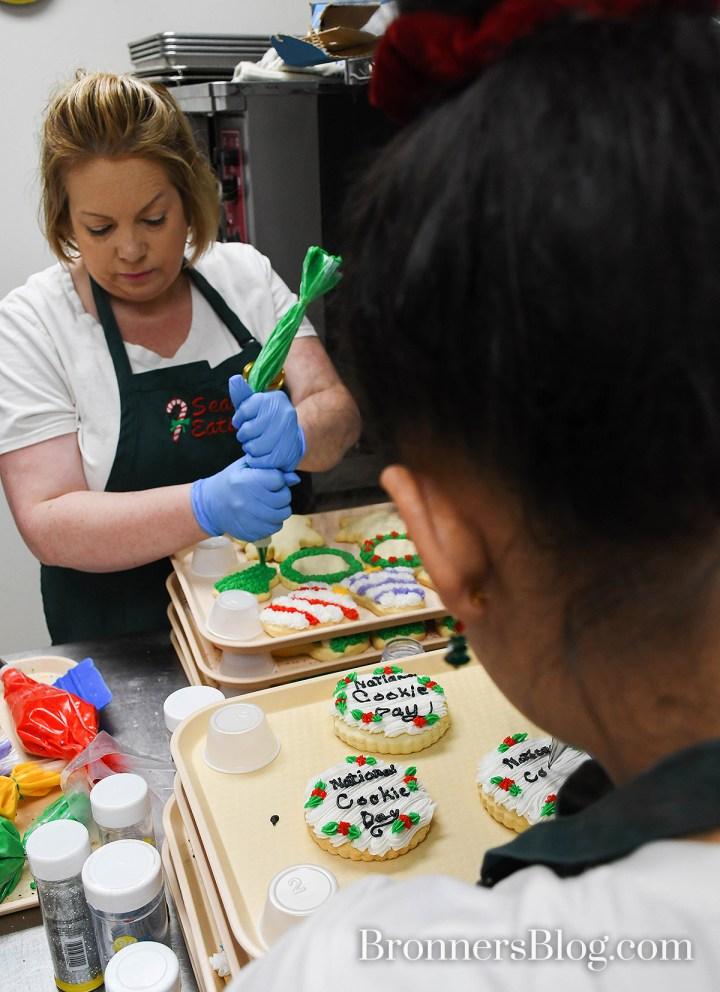 Decorating sugar cookies at Bronner's Christmas Wonderland