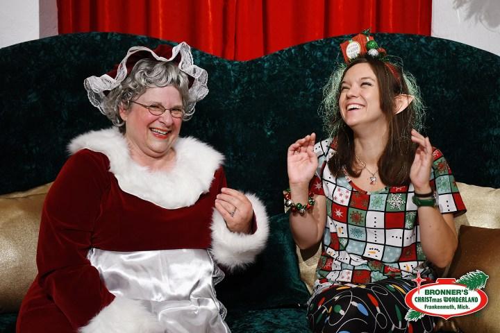Mrs Claus And Autumn The Elf Laugh