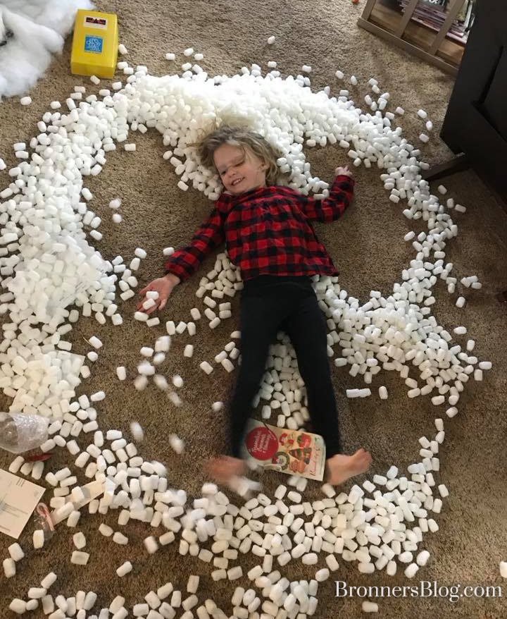 Packing oeanuts snow angel