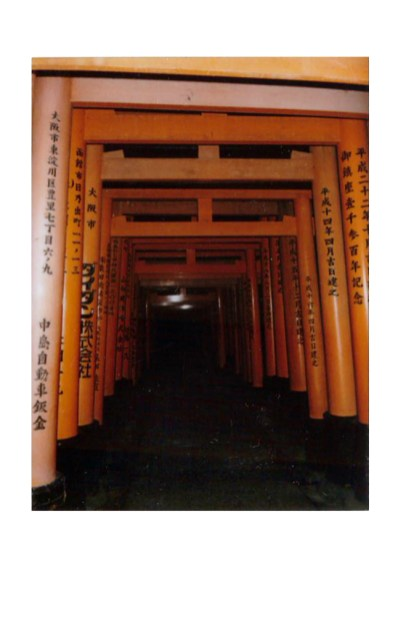Polaroid of red torii of fushimi inure in Kyoto, Japan