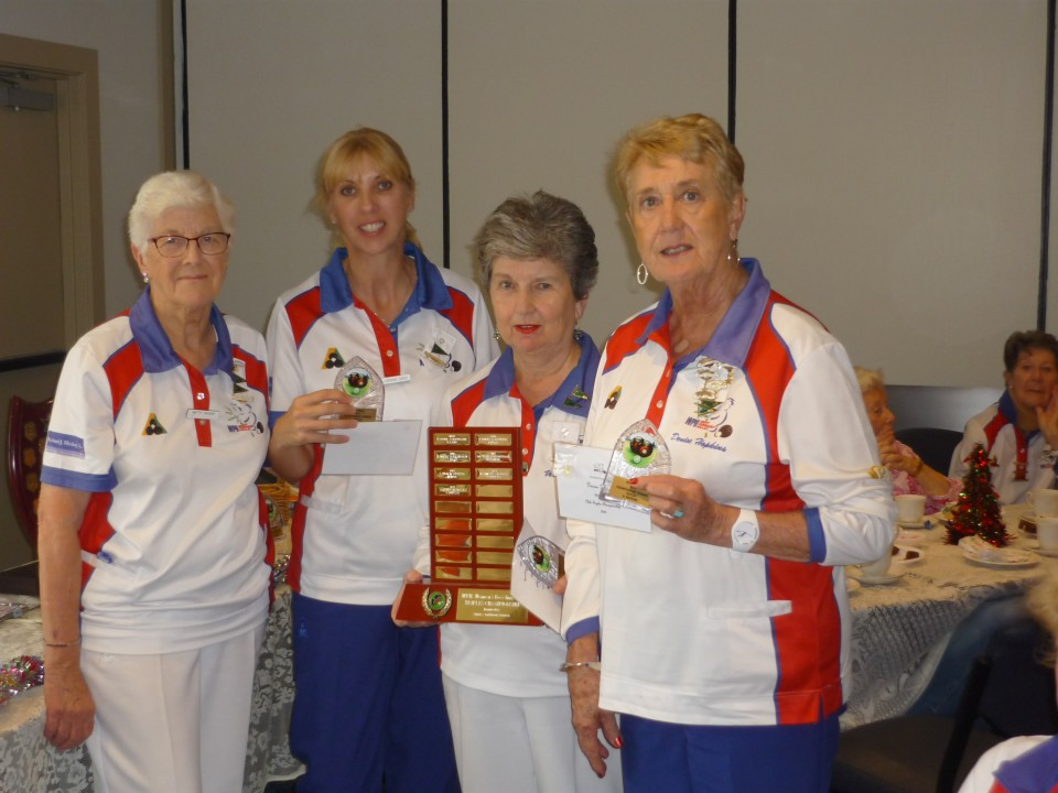 Lorraine Singh, Veronica Doyle and Denise Hopkins were presented with the Triples Trophy by Past President Betty Gough.