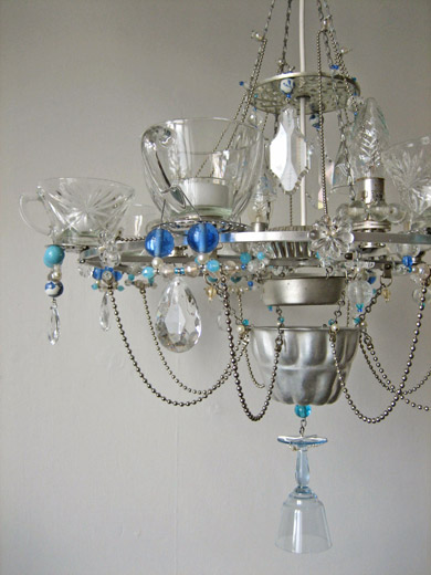 Used Tea Cups Glass Bottles And Wine Glasses Chandelier