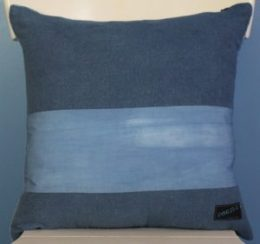 Indigo velvet pillow back