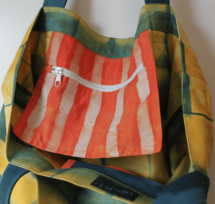 Itajime Shibori Canvas bag inside