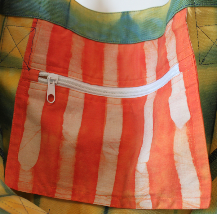 Itajime Shibori Canvas bag zip pocket