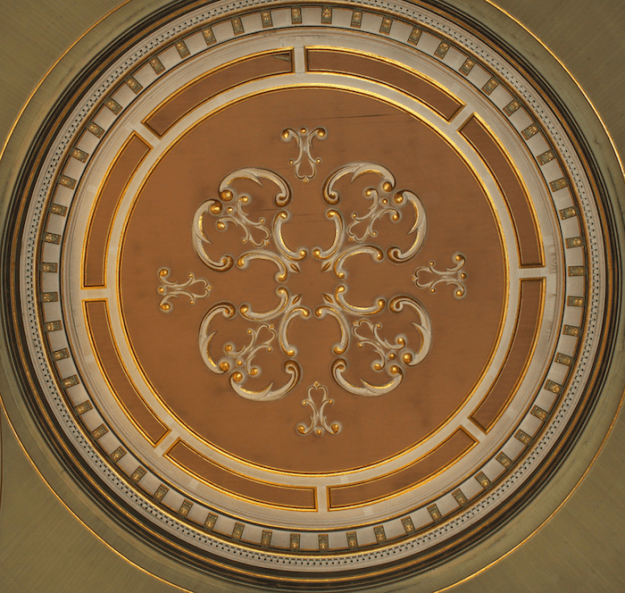 painted medallion in Mary, Queen of the World Cathedral, Montréal