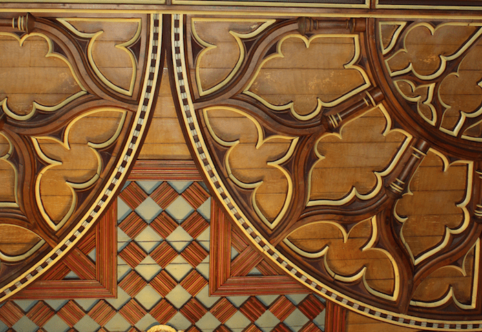 stencilled and painted wood detail from Notre-Dame de Montréal church ceiling
