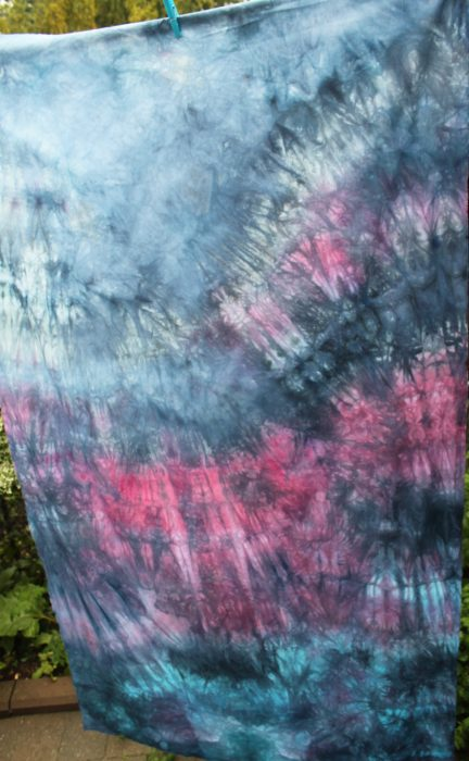 parfait handdyed cotton for quilting by doris Lovadina-Lee drying on line