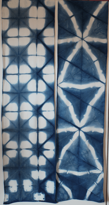 Two bamboo rayon indigo scarves