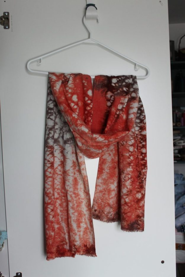orange brown shibori scarf