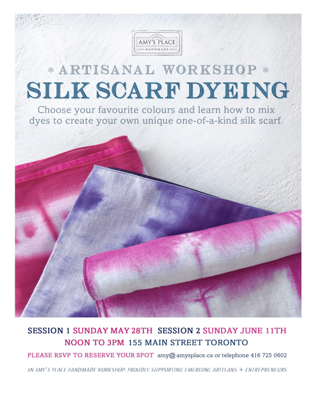 Artisan workshop silk scarf dyeing instagram