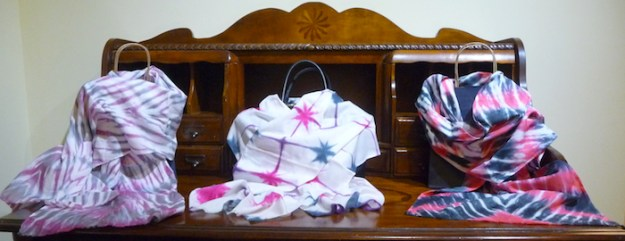 itajime and arashi shibori cotton scarves by doris lovadina-lee