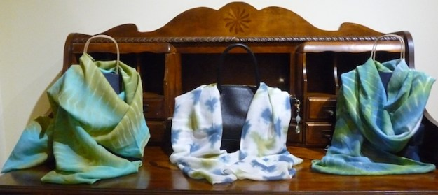 Itajime shibori silk scarf by doris lovadina-lee