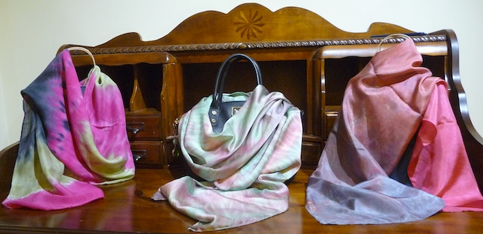 fuchsia wool and silk scarf handdyed by doris lovadina-lee