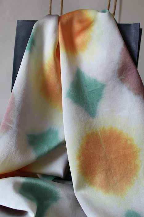 orange and green itajime shibori silk scarf by doris lovadina-LeD