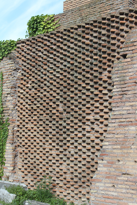 brick wall in rome italy