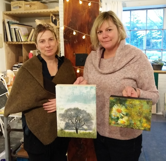 Michelle Clark and Ann Shier teaching encaustic wax workshop 2nd door studio distillery district toronto