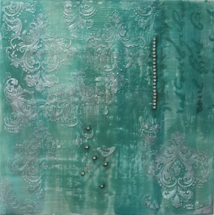 turquoise encaustic painting doris lovadina-lee with diamonds and silver toronto ontario canada