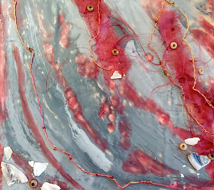 close-up detail of encaustic wax artwork by doris lovadina-lee