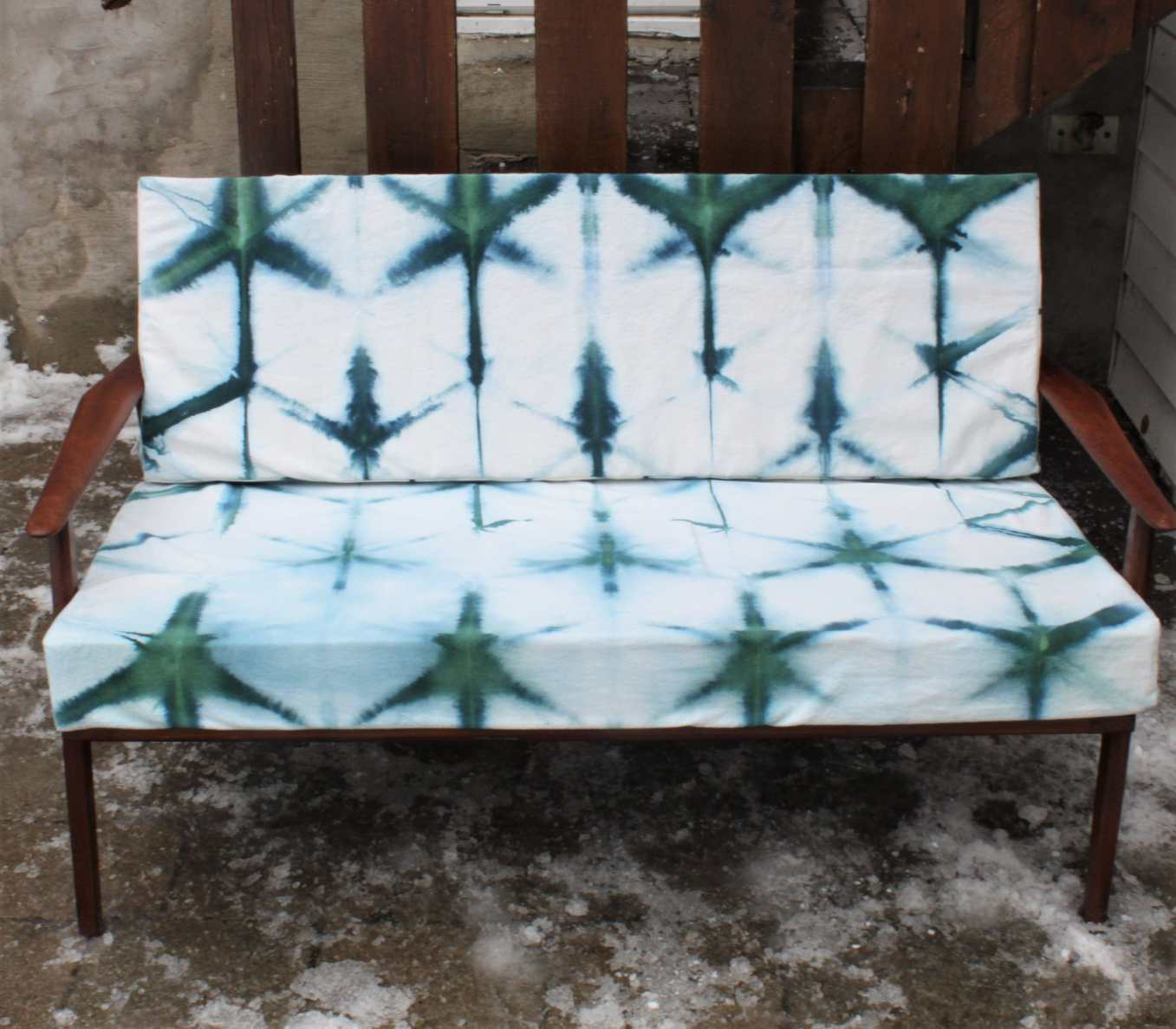 Danish teak 2 seater lounge chair itajime shibori snowdyed canvas upholstery doris lovadina