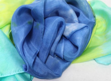 Doris' hand dyed silk scarves, nui and parfait hand dyed in toronto canada with pale turquoise, light blue and yellow green dyes